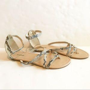 JustFab Lucca Flat Snake Skin Sandals